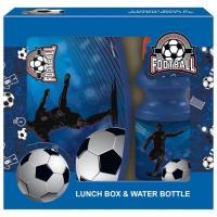 BOX NA DESIATU A fľaša na pitie Futbal , Velikost lahve - 330 ml , Barva - Modrá