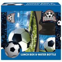 BOX NA SVAČINU A LÁHEV NA PITÍ fotbal , Velikost lahve - 330 ml , Barva - Modro-černá