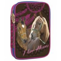 Penál s výbavou Koně , Barva - Hnedá