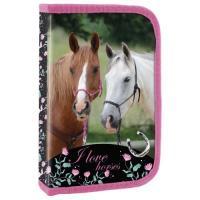 PENÁL S KLOPOU PLNĚNÝ Koně - vybavený , Barva - Barevná