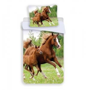 Povlečení Koně , Rozměr textilu - 140x200 , Barva - Zelená