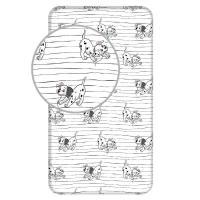 Prostěradlo 101 Dalmatinů Lucky stripe , Barva - Biela , Rozměr textilu - 90x200