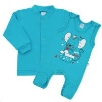 Kabátek a dupačky New Baby Mouse , Velikost - 56 , Barva - Tyrkysová