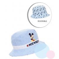 Klobouček Mickey - oboustranný , Velikost čepice - 48 , Barva - Světlo modrá