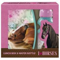 BOX NA SVAČINU A LÁHEV NA PITÍ Koně , Velikost lahve - 330 ml , Barva - Modro-růžová