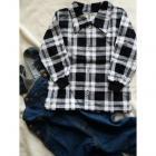 Košeľa Tomino flanelová , Velikost - 86 , Barva - Černo-bílá