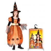 Kostým Čarodějnice/Halloween , Velikost - S , Barva - Oranžová