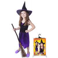 Kostým Čarodějnice s kloboukem/Halloween , Velikost - M , Barva - Fialová