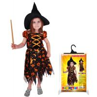 Kostým Čarodejnica s klobúkom , Velikost - M , Barva - Oranžová