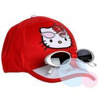 Kšiltovka a brýle Hello Kitty , Barva - Červená , Velikost čepice - 52