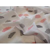 Látková plienka s potlačou mráčika , Barva - Biela , Rozměr textilu - 70x70
