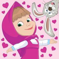 Kúzelný uteráčik Máša a Medveď srdiečka , Barva - Ružová , Rozměr textilu - 30x30