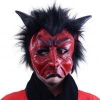 Maska čert s vlasmi , Barva - Červeno-černá