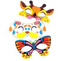 Maska papírová zvířátka 6 ks v sáčku , Barva - Barevná