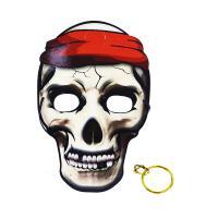 Maska pirátska s náušnicami 3ks , Barva - Šedo-červená