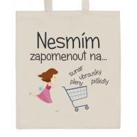 Nákupná taška prírodné Nesmiem zabudnú na .... , Barva - Béžová