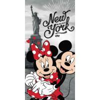 OSUŠKA MINNIE A MICKEY IN NEW YORK , Rozměr textilu - 70x140 , Barva - Šedo-červená