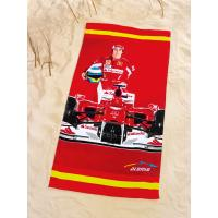 Osuška plážová Ferrari Alonso , Barva - Červená , Rozměr textilu - 75x150