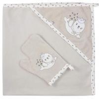 Osuška s žínkou Koala Tuleň , Rozměr textilu - 90x90 , Barva - Béžová