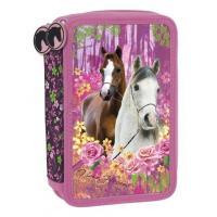 Penál I LOVE YOU HORSES třípatrový , Barva - Ružová
