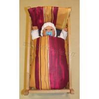 Perinky do postieľky pre bábiky Pruhy , Barva - Bordó