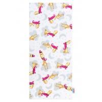 Plienka s potlačou New Baby Žirafa , Rozměr textilu - 68x80 , Barva - Bílo-růžová