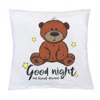 Polštář New Baby s potiskem Good night , Rozměr textilu - 40x40 , Barva - Biela