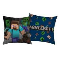 Polštářek Minecraft Steve , Barva - Modrá , Rozměr textilu - 40x40