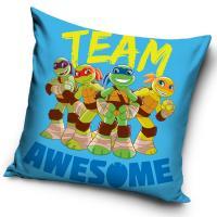 Vankúšik Korytnačky Ninja Team Awesome , Barva - Modrá , Rozměr textilu - 40x40