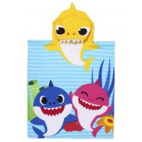 PONČO BABY SHARK , Barva - Modro-žltá , Rozměr textilu - 50x115