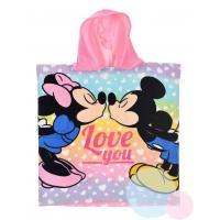 Pončo Minnie a Mickey , Rozměr textilu - 50x100 , Barva - Ružová
