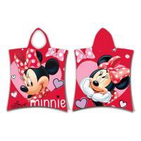 Pončo Minnie Love , Barva - Červená , Rozměr textilu - 50x115