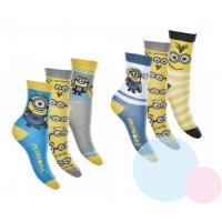 Ponožky Mimoni 3 kusy , Velikost ponožky - 27-30