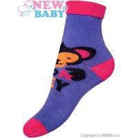 Ponožky New Baby fialové s opicí , Barva - Fialová , Velikost - 80