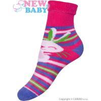 Ponožky New Baby růžovo-fialové s zajícem , Barva - Růžovo-fialová , Velikost - 80