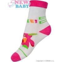 Ponožky New Baby šedo-růžové s robotem , Barva - Šedo-růžová , Velikost - 80