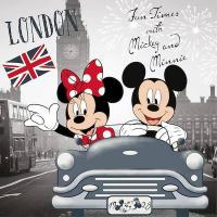 Povlak na vankúšik Mickey a Minnie v Londýne micro , Rozměr textilu - 40x40 , Barva - Šedo-červená