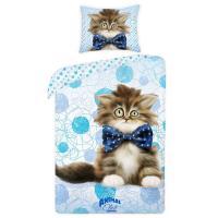 Obliečky Animal Club Mačiatko , Barva - Světlo modrá , Rozměr textilu - 140x200