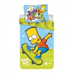 Povlečení Bart Simpson skate , Barva - Modro-zelená , Rozměr textilu - 140x200