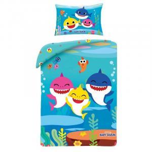 Povlečení do postýlky Baby Shark , Barva - Modrá , Rozměr textilu - 100x135