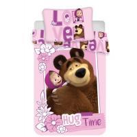 Obliečky do postieľky Máša a Medveď Love baby , Barva - Ružová , Rozměr textilu - 100x135