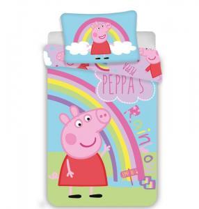 Povlečení do postýlky Peppa Pig duha , Rozměr textilu - 100x135 , Barva - Barevná
