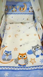 Obliečky do postieľky Sova , Rozměr textilu - 90x130 , Barva - Modrá
