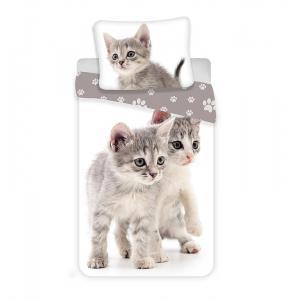 Povlečení Kitten , Rozměr textilu - 140x200 , Barva - Bílo-šedá
