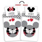 Obliečky Mickey a Minnie love grey , Rozměr textilu - 140x200 , Barva - Biela