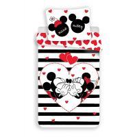 Obliečky Mickey a Minnie stripes , Barva - Černo-bílá , Rozměr textilu - 140x200