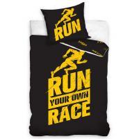 Obliečky Run Race perkálové , Barva - Čierna , Rozměr textilu - 140x200