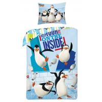 Obliečky Tučniaci z Madagaskaru Inside , Rozměr textilu - 140x200 , Barva - Modrá
