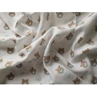 Látková Bambusová tetra plena Méďa brýle , Barva - Bílo-hnědá , Rozměr textilu - 70x70