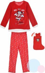 PYŽAMO + PUNČOCHA MINNIE vánoce , Velikost - 98 , Barva - Červená